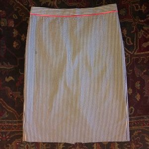 J CREW NO. 2 PENCIL SKIRT SEERSUCKER COTTON SIZE 0
